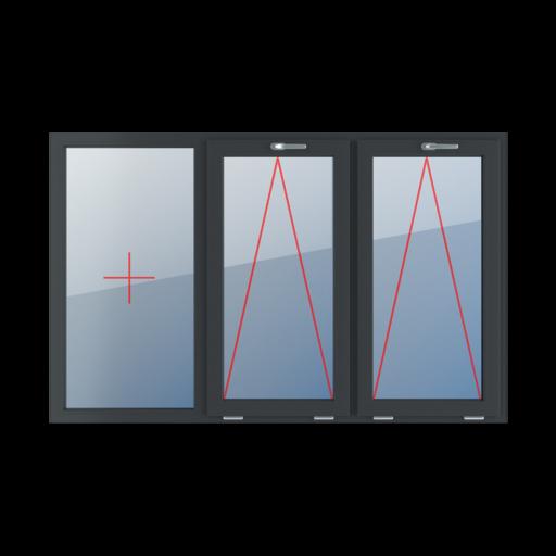 Typy okien 3-skrzydłowe podział symetryczny poziomy 33-33-33 Szklenie stałe w ramie, uchylne z klamką u góry, uchylne z klamką u góry
