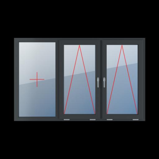 Typy okien 3-skrzydłowe podział symetryczny poziomy 33-33-33 Szklenie stałe w ramie, uchylne z klamką na środku, uchylne z klamką na środku