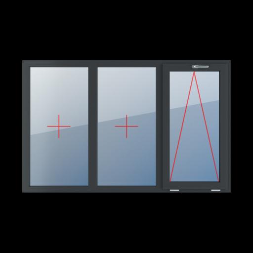 Typy okien 3-skrzydłowe podział symetryczny poziomy 33-33-33 Szklenie stałe w ramie, uchylne z klamką u góry