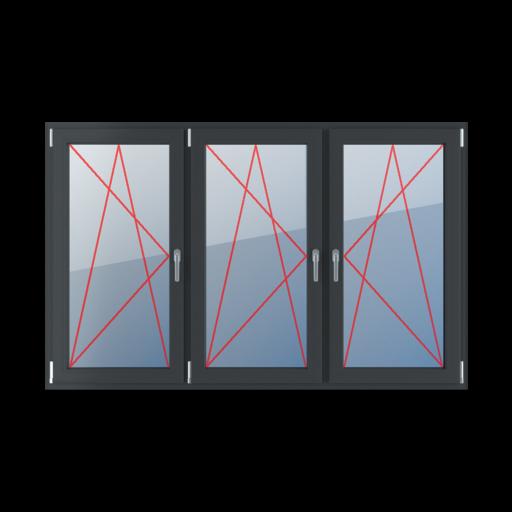 Typy okien 3-skrzydłowe podział symetryczny poziomy 33-33-33 Rozwierno-uchylne lewe, rozwierno-uchylne lewe, rozwierno-uchylne prawe