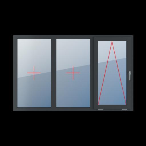 Typy okien 3-skrzydłowe podział symetryczny poziomy 33-33-33 Szklenie stałe w ramie, uchylne z klamką z prawej strony