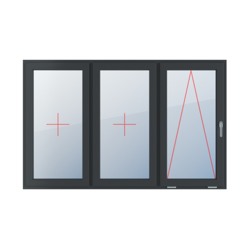 Typy okien 3-skrzydłowe podział symetryczny poziomy 33-33-33 Szklenie stałe w skrzydle, uchylne z klamką z prawej strony