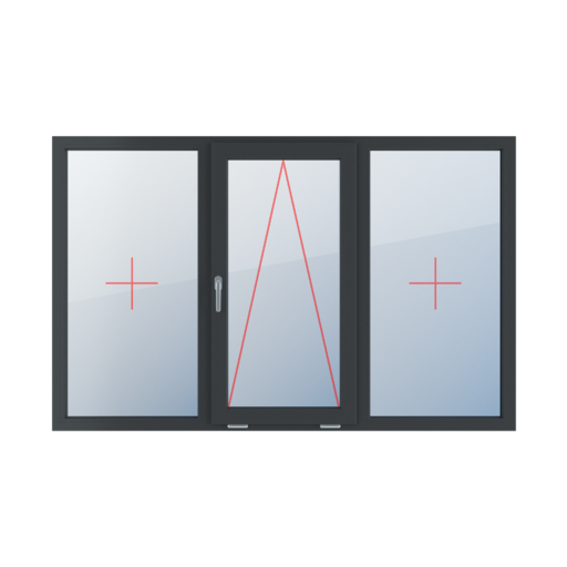 Typy okien 3-skrzydłowe podział symetryczny poziomy 33-33-33 Szklenie stałe w ramie, uchylne z klamką z lewej strony, szklenie stałe w ramie