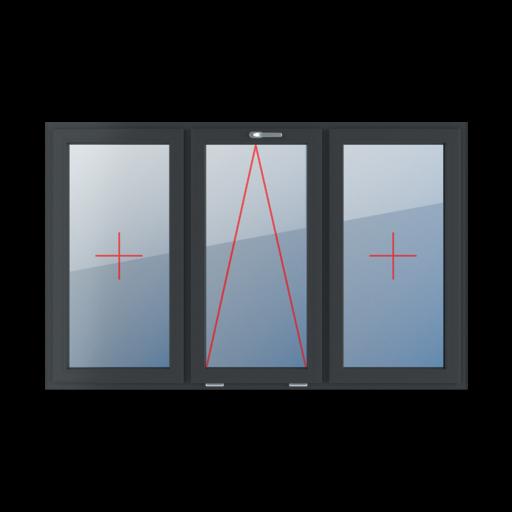 Typy okien 3-skrzydłowe podział symetryczny poziomy 33-33-33 szklenie stałe w skrzydle uchylne z klamką u góry szklenie stałe w skrzydle