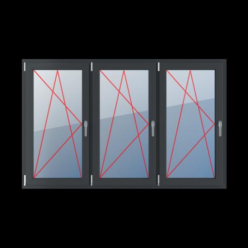 Typy okien 3-skrzydłowe podział symetryczny poziomy 33-33-33 Rozwierno-uchylne lewe