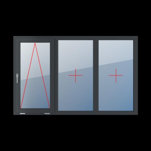 Typy okien 3-skrzydłowe podział symetryczny poziomy 33-33-33 Uchylne z klamką z lewej strony, szklenie stałe w ramie, szklenie stałe w ramie