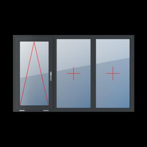 Typy okien 3-skrzydłowe podział symetryczny poziomy 33-33-33 Uchylne z klamką z prawej strony, szklenie stałe w ramie, szklenie stałe w ramie