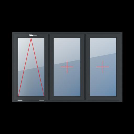 Typy okien 3-skrzydłowe podział symetryczny poziomy 33-33-33 Uchylne z klamką u góry, szklenie stałe w skrzydle, szklenie stałe w skrzydle