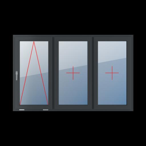 Typy okien 3-skrzydłowe podział symetryczny poziomy 33-33-33 Uchylne z klamką z lewej strony, szklenie stałe w skrzydle, szklenie stałe w skrzydle