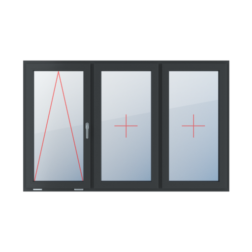 Typy okien 3-skrzydłowe podział symetryczny poziomy 33-33-33 uchylne z klamką z prawej strony szklenie stałe w skrzydle szklenie stałe w skrzydle