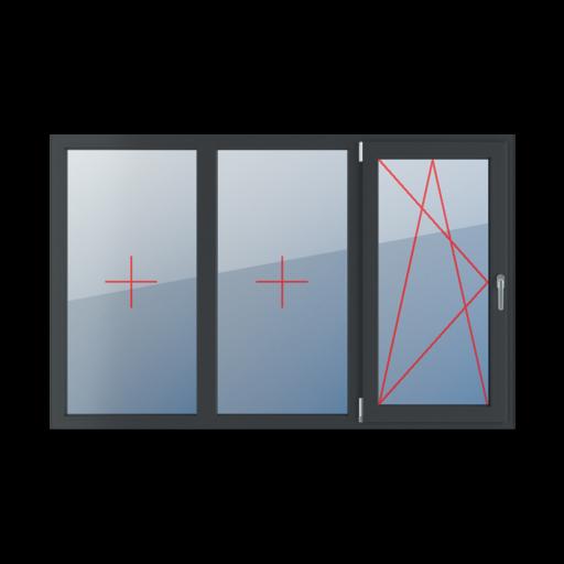 Typy okien 3-skrzydłowe podział symetryczny poziomy 33-33-33 Szklenie stałe w ramie, rozwierno-uchylne lewe