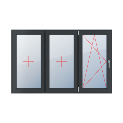 Typy okien 3-skrzydłowe podział symetryczny poziomy 33-33-33 Szklenie stałe w skrzydle, rozwierno-uchylne lewe