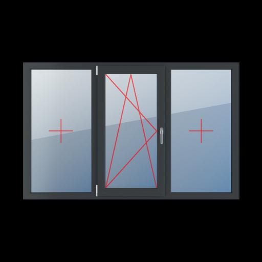Typy okien 3-skrzydłowe podział symetryczny poziomy 33-33-33 Szklenie stałe w ramie, rozwierno-uchylne lewe, szklenie stałe w ramie