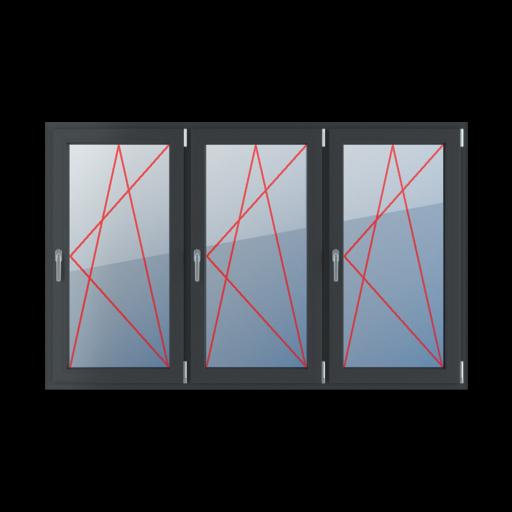 Typy okien 3-skrzydłowe podział symetryczny poziomy 33-33-33 Rozwierno-uchylne prawe