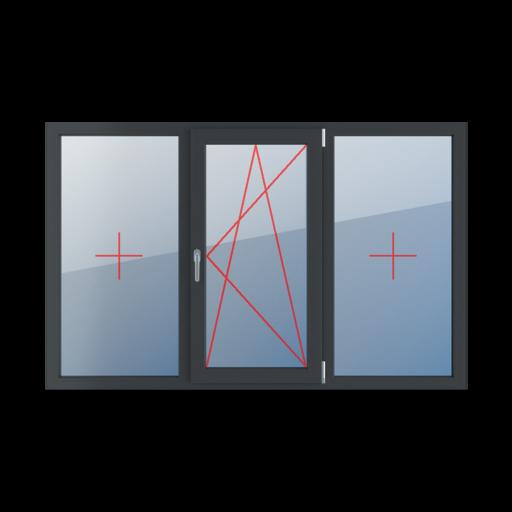 Typy okien 3-skrzydłowe podział symetryczny poziomy 33-33-33 Szklenie stałe w ramie, rozwierno-uchylne prawe, szklenie stałe w ramie