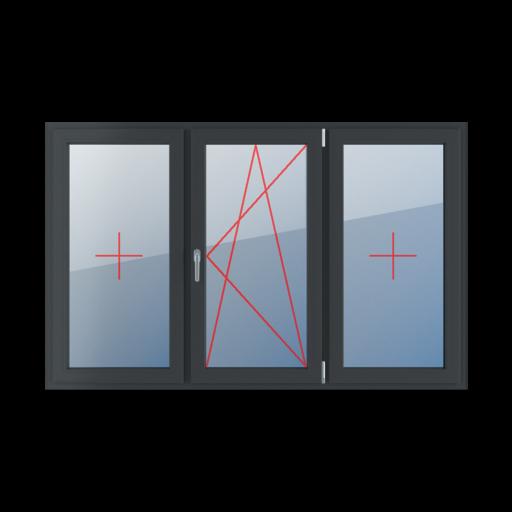 Typy okien 3-skrzydłowe podział symetryczny poziomy 33-33-33 Szklenie stałe w skrzydle, rozwierno-uchylne prawe, szklenie stałe w skrzydle