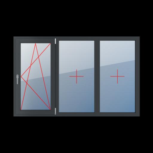 Typy okien 3-skrzydłowe podział symetryczny poziomy 33-33-33 Rozwierno-uchylne prawe, szklenie stałe w ramie