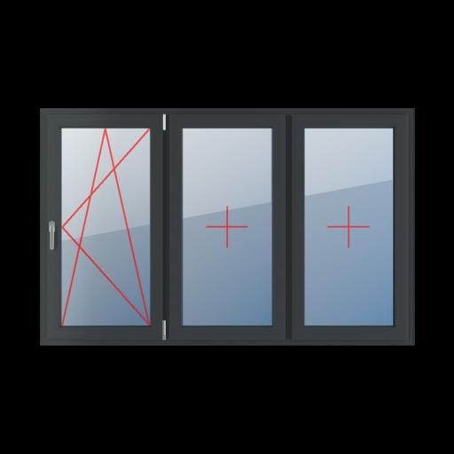 Typy okien 3-skrzydłowe podział symetryczny poziomy 33-33-33 Rozwierno-uchylne prawe, szklenie stałe w skrzydle