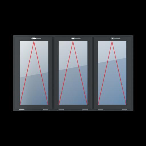 Typy okien 3-skrzydłowe podział symetryczny poziomy 33-33-33 Uchylne z klamką u góry