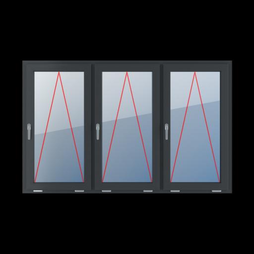Typy okien 3-skrzydłowe podział symetryczny poziomy 33-33-33 Uchylne z klamką z lewej strony