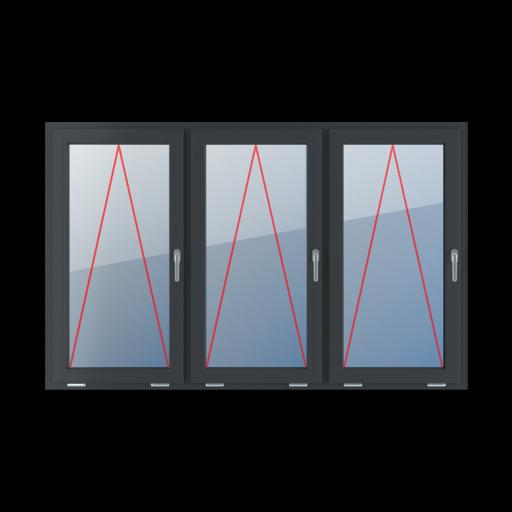 Typy okien 3-skrzydłowe podział symetryczny poziomy 33-33-33 Uchylne z klamką z prawej strony