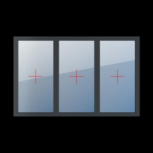 Typy okien 3-skrzydłowe podział symetryczny poziomy 33-33-33 Szklenie stałe w ramie