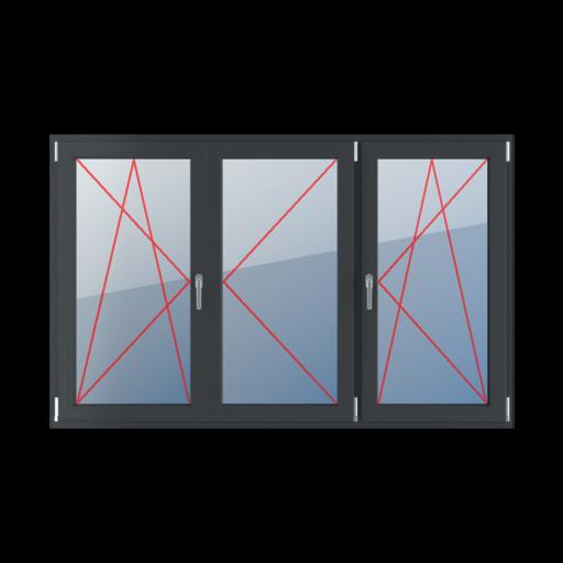 Typy okien 3-skrzydłowe podział symetryczny poziomy 33-33-33 Rozwierno-uchylne lewe, słupek ruchomy, rozwierne prawe, rozwierno-uchylne prawe