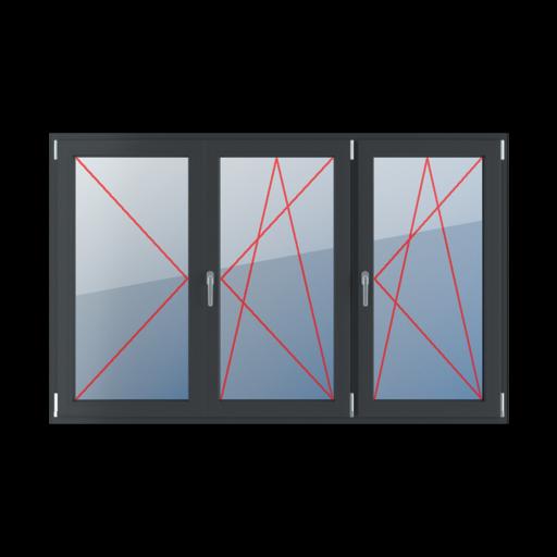 Typy okien 3-skrzydłowe podział symetryczny poziomy 33-33-33 z ruchomym słupkiem rozwierne lewe rozwierno-uchylne prawe