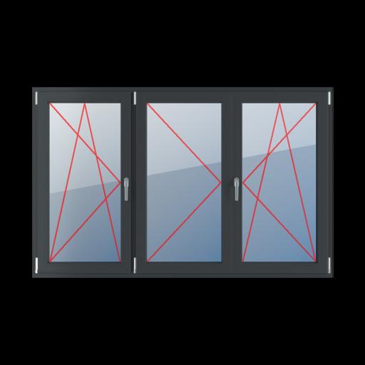 Typy okien 3-skrzydłowe podział symetryczny poziomy 33-33-33 Rozwierno-uchylne lewe, słupek ruchomy, rozwierne lewe, rozwierno-uchylne prawe
