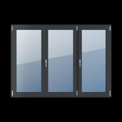 Typy okien 3-skrzydłowe podział symetryczny poziomy 33-33-33 z ruchomym słupkiem