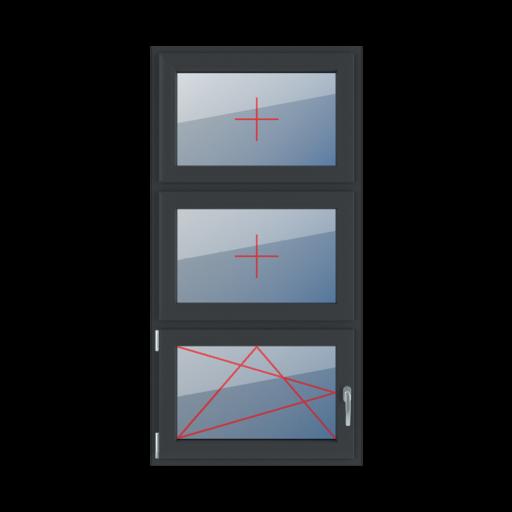 Typy okien 3-skrzydłowe podział symetryczny pionowy 33-33-33 szklenie stałe w skrzydle rozwierno-uchylne lewe