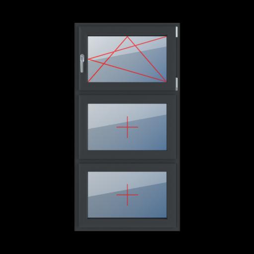 Typy okien 3-skrzydłowe podział symetryczny pionowy 33-33-33 rozwierno-uchylne prawe szklenie stałe w skrzydle