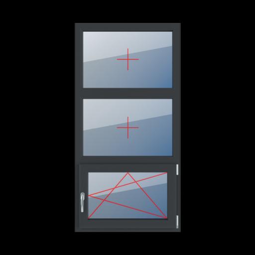 Typy okien 3-skrzydłowe podział symetryczny pionowy 33-33-33 szklenie stałe w ramie rozwierno-uchylne prawe