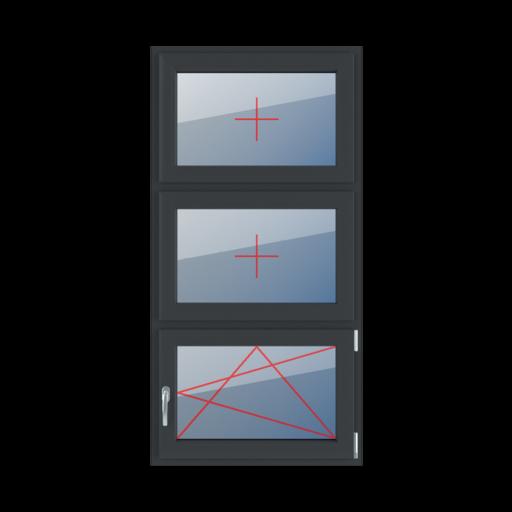 Typy okien 3-skrzydłowe podział symetryczny poziomy 33-33-33 Szklenie stałe w skrzydle, rozwierno-uchylne prawe