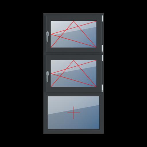 Typy okien 3-skrzydłowe podział symetryczny poziomy 33-33-33 Rozwierno-uchylne prawe, rozwierno-uchylne prawe, szklenie stałe w ramie