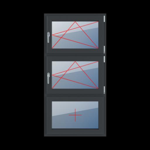 Typy okien 3-skrzydłowe podział symetryczny pionowy 33-33-33 rozwierno-uchylne prawe rozwierno-uchylne prawe szklenie stałe w skrzydle