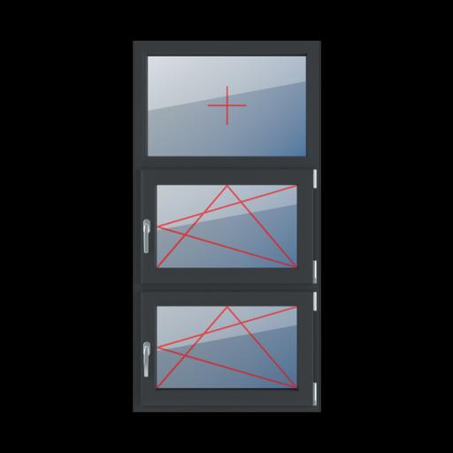 Typy okien 3-skrzydłowe podział symetryczny poziomy 33-33-33 Szklenie stałe w ramie, rozwierno-uchylne prawe, rozwierno-uchylne prawe