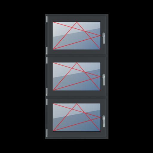 Typy okien 3-skrzydłowe podział symetryczny pionowy 33-33-33 rozwierno-uchylne lewe