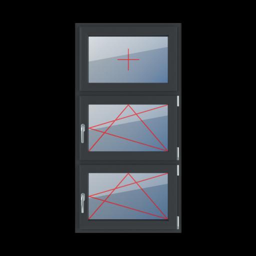 Typy okien 3-skrzydłowe podział symetryczny pionowy 33-33-33 szklenie stałe w skrzydle rozwierno-uchylne prawe rozwierno-uchylne prawe