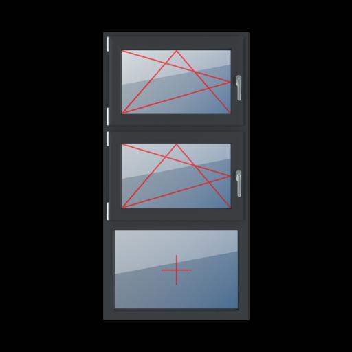 Typy okien 3-skrzydłowe podział symetryczny pionowy 33-33-33 rozwierno-uchylne lewe rozwierno-uchylne lewe szklenie stałe w ramie