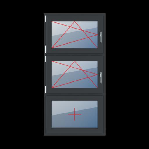 Typy okien 3-skrzydłowe podział symetryczny poziomy 33-33-33 Rozwierno-uchylne lewe, rozwierno-uchylne lewe, szklenie stałe w skrzydle