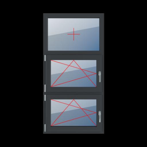 Typy okien 3-skrzydłowe podział symetryczny poziomy 33-33-33 Szklenie stałe w ramie, rozwierno-uchylne lewe, rozwierno-uchylne lewe