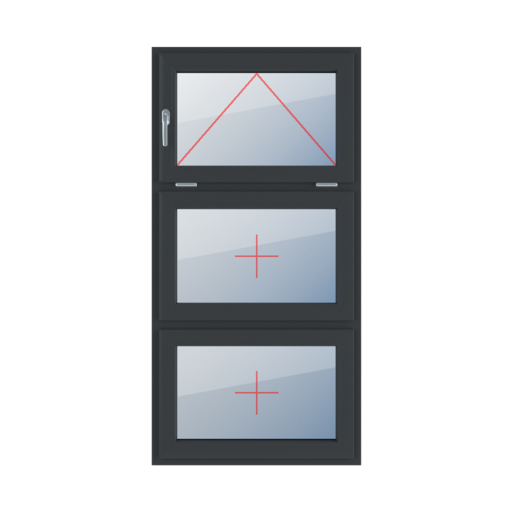 Typy okien 3-skrzydłowe podział symetryczny poziomy 33-33-33 Uchylne z klamką z lewej strony, szklenie stałe w skrzydle