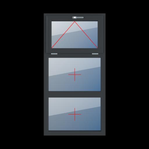 Typy okien 3-skrzydłowe podział symetryczny poziomy 33-33-33 Uchylne z klamką u góry, szklenie stałe w ramie