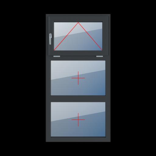 Typy okien 3-skrzydłowe podział symetryczny poziomy 33-33-33 Uchylne z lewej strony, szklenie stałe w ramie