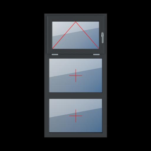 Typy okien 3-skrzydłowe podział symetryczny poziomy 33-33-33 Uchylne z prawej strony, szklenie stałe w ramie