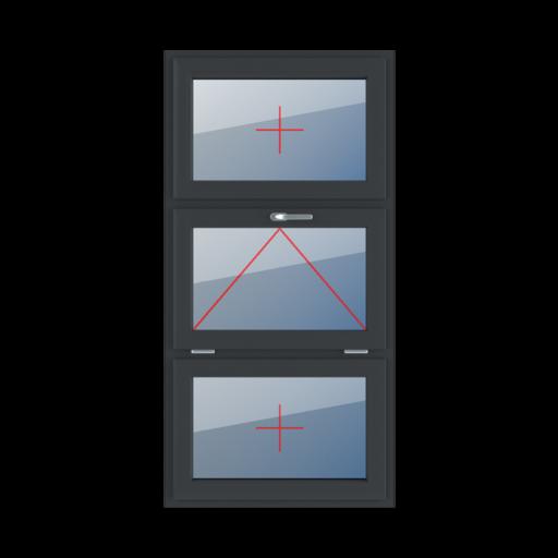 Typy okien 3-skrzydłowe podział symetryczny poziomy 33-33-33 Szklenie stałe w skrzydle, uchylne z klamką u góry, szklenie stałe w skrzydle