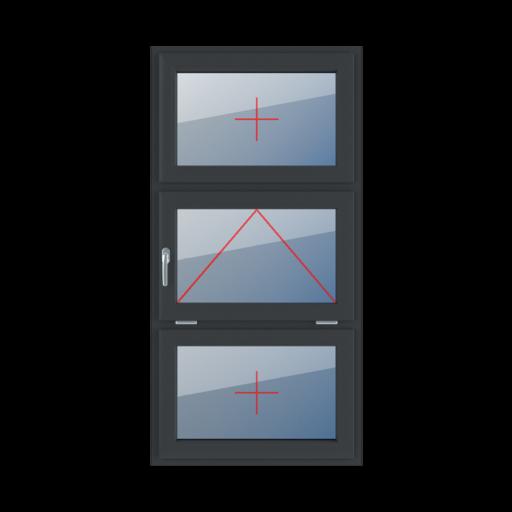 Typy okien 3-skrzydłowe podział symetryczny poziomy 33-33-33 Szklenie stałe w skrzydle, uchylne z klamką z lewej strony, szklenie stałe w skrzydle