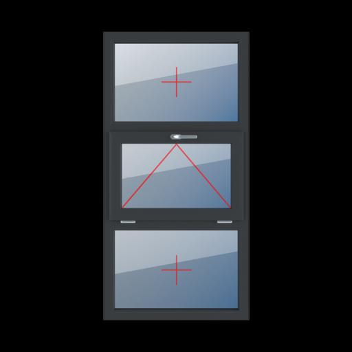 Typy okien 3-skrzydłowe podział symetryczny poziomy 33-33-33 Szklenie stałe w ramie, uchylne z klamką u góry, szklenie stałe w ramie
