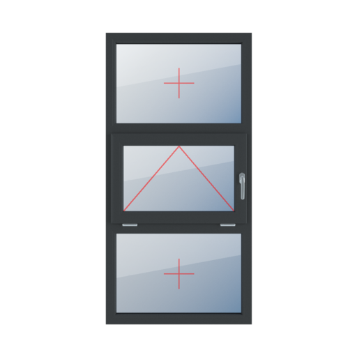 Typy okien 3-skrzydłowe podział symetryczny poziomy 33-33-33 Szklenie stałe w ramie, uchylne z klamką z prawej strony, szklenie stałe w ramie